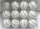 LEDgen WL-ORN-12PK-LN-SV - Silver And White Ball Ornament With Line Design 12 Pack