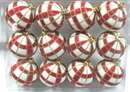 LEDgen WL-ORN-12PK-PLD-RE - White Ball Ornament With Red And Gold Plaid Design 12Pk