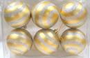 LEDgen WL-ORN-6PK-LN-SLV - Silver Ball Ornament With Lines 6 Pack
