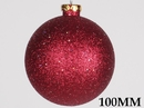 LEDgen WL-ORN-BLKG-100-BU-W 100MM Glitter Burgarndy Ball Ornament W/Wire
