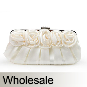 Rose Top Satin Wedding Clutch - Wholesale