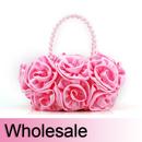 Toptie Bouquet Rose Clutch, Satin Wedding Handbag - Wholesale