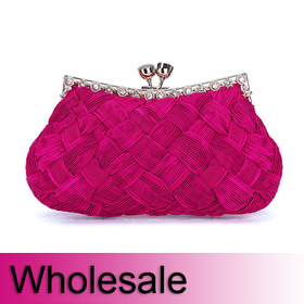 Woven Pattern Satin Evening Bag - Wholesale