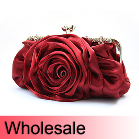 Rose Satin Evening Handbag - Wholesale