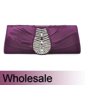 Toptie Crystal Decorated Satin Clutch - Wholesale