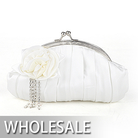 Toptie Crystal Tassels Two-tone Rose Satin Clutch - Wholesale