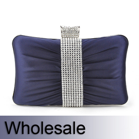 Rhinestone Decorated Satin Clutch Hand Case - Wholesale