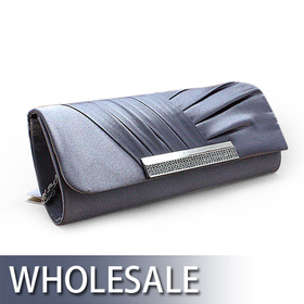 Toptie Pleated Satin Evening Bag Hand Case - Wholesale