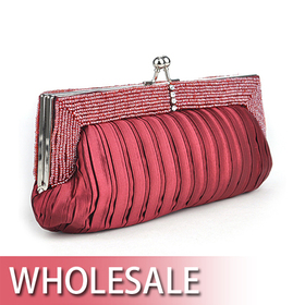 Toptie Beaded Decorated Frame Satin Clutch Wholesale