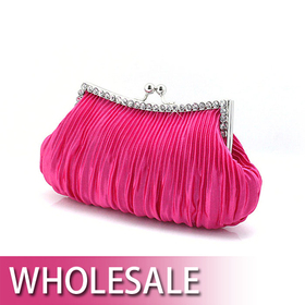 Draped Satin Crystal Decorated Frame Evening Bag - Wholesale