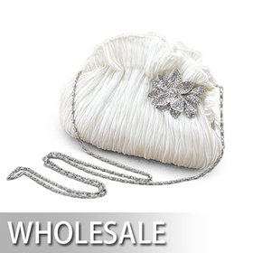 Toptie Cute Dumpling Shape Pleated Satin Evening Bag - Wholesale