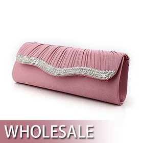 Toptie Pleated Lid Crystal Decorated Satin Evening Bag - Wholesale