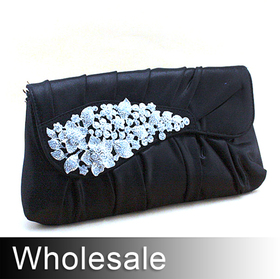 Shiny PU Clutch Luxury Rhinestone Leave - Wholesale