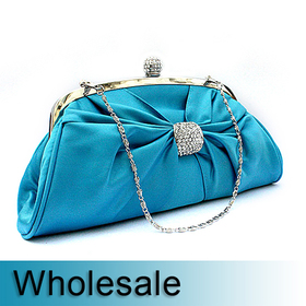 Toptie Rhinestone Buckle Satin Clutch - Wholesale