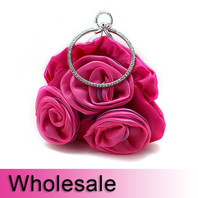 Toptie Rhinestone Circle Handle Rose Satin Purse Handbag - Wholesale