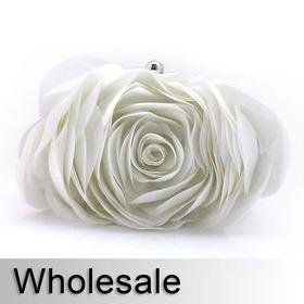 Toptie Solid Petal Rose Designed Satin Purse - Wholesale