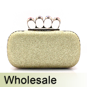 Toptie Crystal Knuckle Rings Glitter Hand Case Clutch - Wholesale
