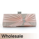 Toptie Rhinestone Bow Buckle Satin Clutch - Wholesale
