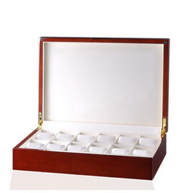 12-Watch Storage, Style: White/Mahogany