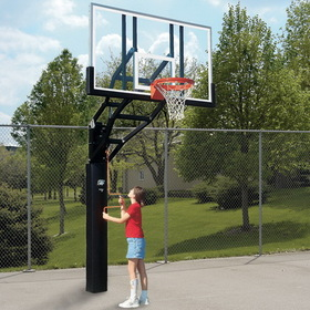 "Bison Adj Height Ultimate System W/ 72"" Glass Backboard, Price/1 Package"