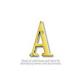 Salsbury Industries 1240B-A Solid Brass Letter - 3 Inches - Brass Finish - A