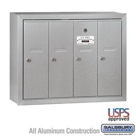 Salsbury Industries 3504ASU Vertical Mailbox - 4 Doors - Aluminum - Surface Mounted - USPS Access