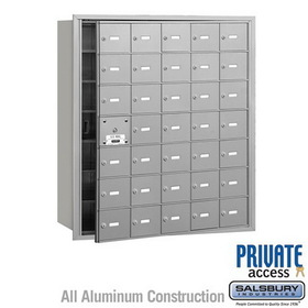 Salsbury Industries 3635AFP 4B+ Horizontal Mailbox (Includes Master Commercial Lock) - 35 A Doors (34 usable) - Aluminum - Front Loading - Private Access