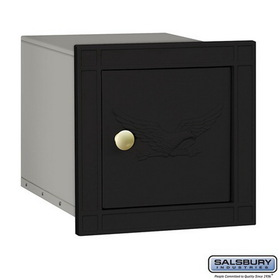 Salsbury Industries 4140E-BLK Cast Aluminum Column Mailbox - Non-Locking - Eagle Door - Black