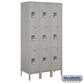 Salsbury Industries 53368GY-A Extra Wide Standard Metal Locker - Triple Tier - 3 Wide - 6 Feet High - 18 Inches Deep - Gray - Assembled