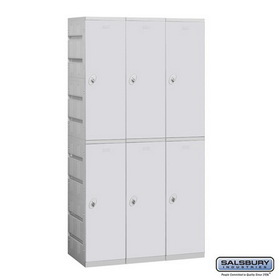 Salsbury Industries 92368GY-A Plastic Locker - Double Tier - 3 Wide - 73 Inches High - 18 Inches Deep - Gray - Assembled