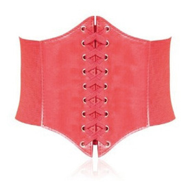 7-Inch Wide Corset Waist Belt - Large Size, Red