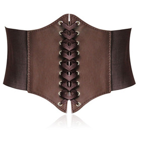 7-Inch Wide Corset Waist Belt - Large Size, Coffee
