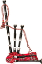 Roosebeck Full Size Sheesham Black Finish Bagpipe with Red Tartan Cover