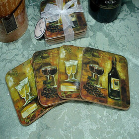 Marilena Imports WC01 - 4pc Wood Cork Coaster Set Wine