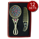 ALICE 12 Sets Bronzy Vintage Hollow Design Hand Mirror with Comb Set Bulk Sale