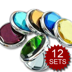 ALICE Candy Color Crystal Makeup Mirrors, Crystal Mirror, Assorted Color, Wholesale Price / 12 Sets