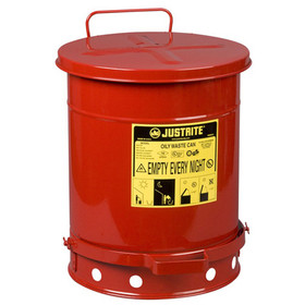 JUSTRITE 09300 Oily 10Gal Waste Can W/Lever, Price/EACH