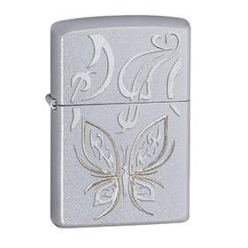 Zippo Satin Chrome, Golden Butterfly