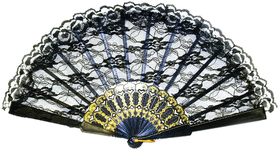 Morris Costumes BB-26BK Fan Black Lace