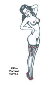 Morris Costumes DF-117 Tattoo Vintage Girl Standing
