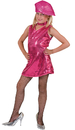 Funny Fashions 782749LG Disco Dress Child Hot Pk Lg