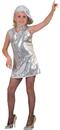Funny Fashions 782767 Disco Dress Silver Child Small