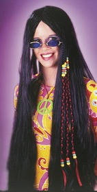 Funworld 8592BK Wig Braided Hippie 33In Blk