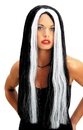 Seasonal Visions MR-176004 Wig 24 Inch Black W Wht Streak