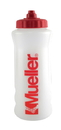 Mueller 919339M Quart Water Bottle, 1 Natural, Red Mueller Logo, w/ Red Sureshot Squeeze Cap
