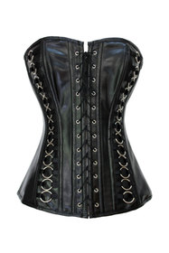 Muka Women's Black Leather Front Lace Steampunk Fashion Corset Bustier, Gift Idea