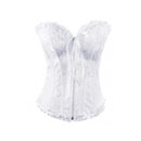 Muka Women White Overbust Boned Corset Bustier Zip Up Bridal Fashion Corset