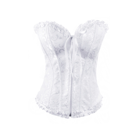 Muka Women's White Zip Up Lace Fashion Corset Bustier, Gift Idea