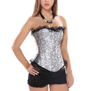Muka Women's Gray Brocade Fashion Corset Bustier with Black Lace, Gift Idea