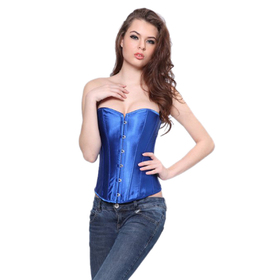 Muka Women's Blue Satin Overbust Fashion Corset Bustier, Gift Idea